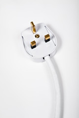 Electrical plug head on white background