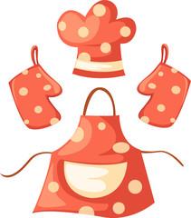 kitchen glove and apron and chef hat - fototapety na wymiar