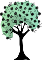 Silhouette Floral Tree Lush Flowers stems and leaves