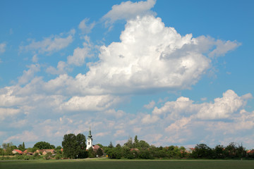Skyline of village Aradac, Vojvodina Serbia