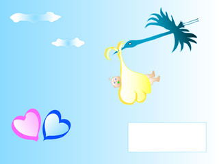 Cute cartoon stork carrying a newborn baby,vector