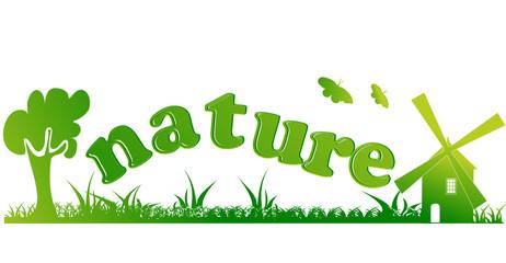 nature texte et icones avec couleurs vertes degradées