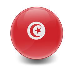 Esfera brillante con bandera Tunez