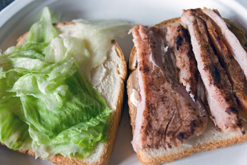 Grilled Ham and lettuce on Bread
