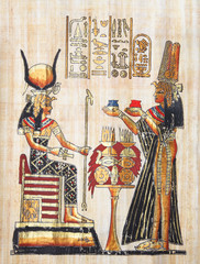 Papyrus with elements of egyptian ancient history. XXL