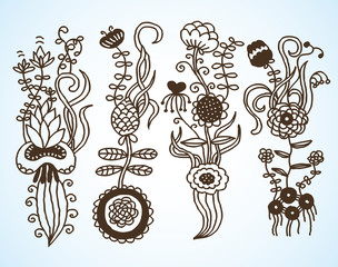 A hand drawn flower set