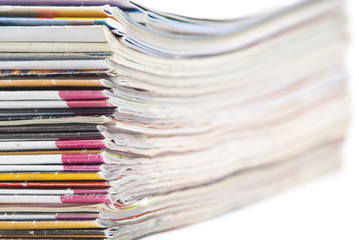 stack of colorful magazines