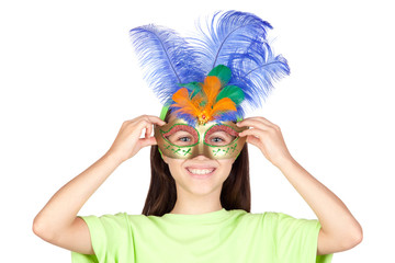 Wall Mural - Adorable little girl with Venetian carnival mask