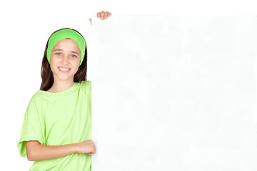 Wall Mural - Adorable little girl with a blank poster