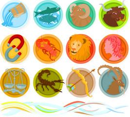 Set of a zodiac icons