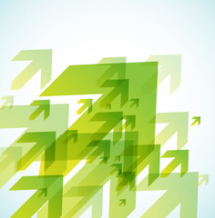 Abstract colored background with green arrows.