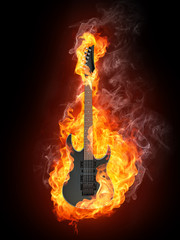 Printed roller blinds Flame Electric Guitar in Fire