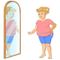 Fat woman measuring her stomach looking at the mirror.