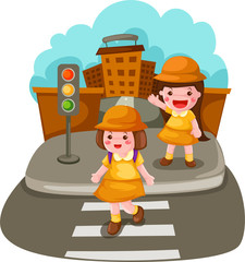 Two girls crossing the street