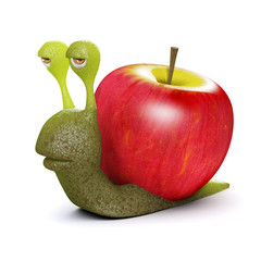 3d Snail with apple shell...