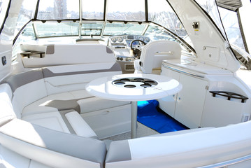yacht interior with table