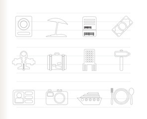 travel, trip and holiday icons - vector icon set