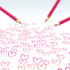 The hearts drawn by pencils