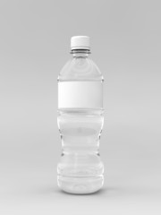 A render of a labeled water bottle over a whit background