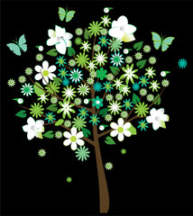 floral tree with butterflies