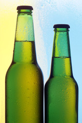 Two beer bottles on a colour background