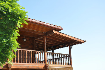 balcony of a wooden house