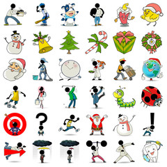 36 catoon action icon collection 1