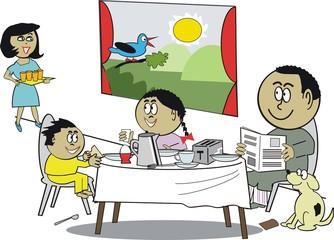 Happy African family breakfast cartoon