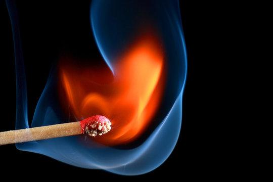 Match bursting to flame