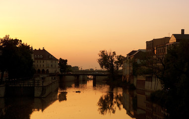 Opole at sunset, Poland