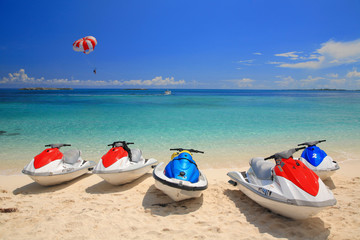 Photo Blinds Water Motor sports Jetski on Paradise Island beach