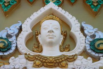 art carving on wall around stupa, Wat Rahan, Ban Dan, Buriram