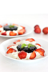 coffee dessert with cream and strawberries