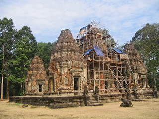 Cambodia, restored ancient Buddhist temple.