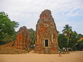 Cambodia, buildings of an ancient Buddhist temple.