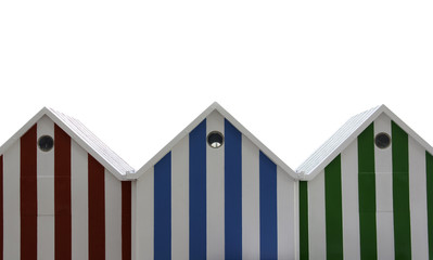 Beach huts isolated on white