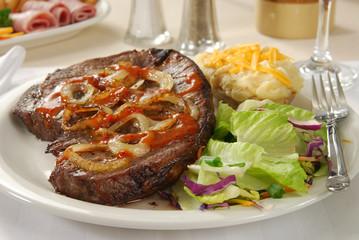 Thick juicy steak dinner
