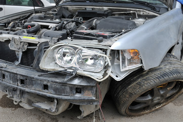 Auto accident - a series of CRASHED CAR images.