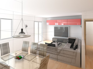 interior wireframe progetto rendering