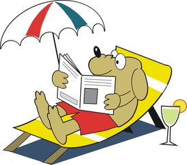 Dog on vacation cartoon