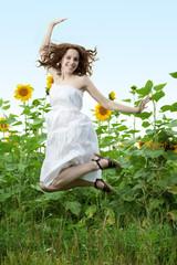 beauty woman in sunflower