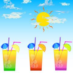 three cocktail glasses vector illustration