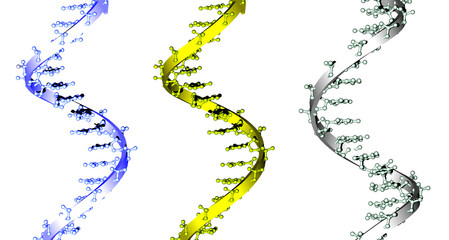 blue, yellow and green DNA spirals