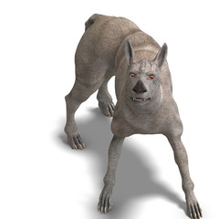 curious alien dog with rhino skin and horn. 3D rendering with c
