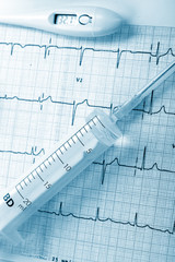 syringe on the cardiogram