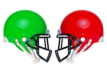 Photo of two American football helmets isolated on white