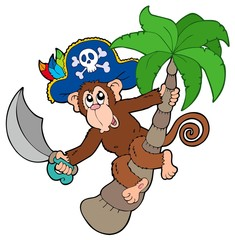 Photo sur Toile Pirates Pirate monkey with palm tree