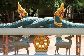 naga on wall of temple, Wat Nonrasi, Borabue, Mahasarakam