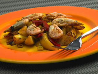 vegetables mixture with prawns and potatoes