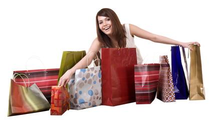 Shopping girl with group bag.